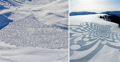 Expansive Geometric Drawings Trampled in Snow and Sand by