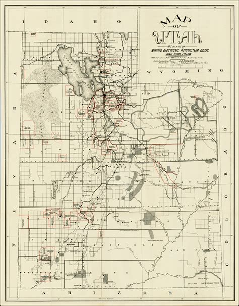 Map of Utah Showing Mining Districts, Asphaltum Beds and
