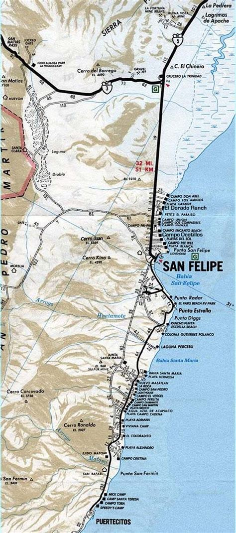 Maps of San Felipe, Mexicali, Border Crossing, North and