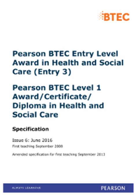 BTEC Level 1 Health and Social Care   Pearson qualifications