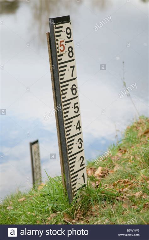 Flood level markers measuring the depth of the river on
