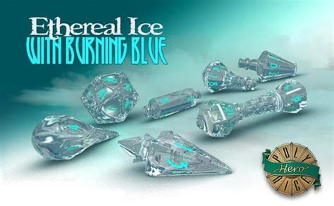 PolyHero Dice, Wizard Set (Ethereal Ice and Burning Blue