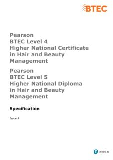 BTEC Higher Nationals Hair and Beauty Management (2010