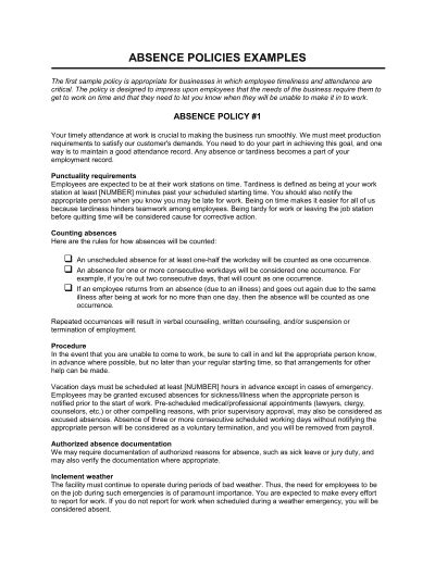 Absence Form Template – Word & PDF   By Business-in-a-Box