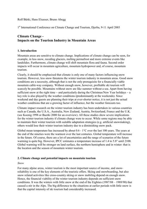 (PDF) Climate Change - Impacts on the Tourism Industry in