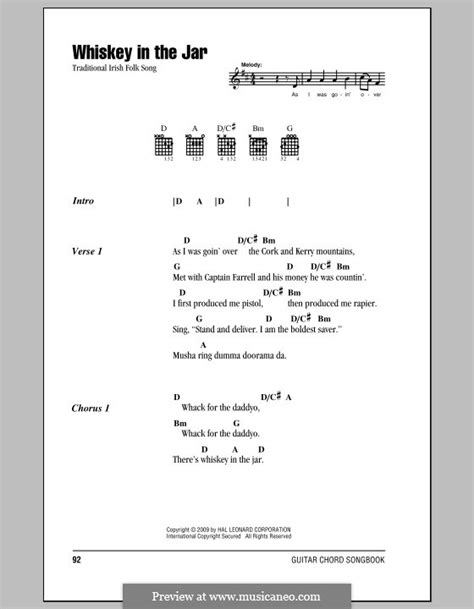 Whiskey in the Jar by folklore - sheet music on MusicaNeo