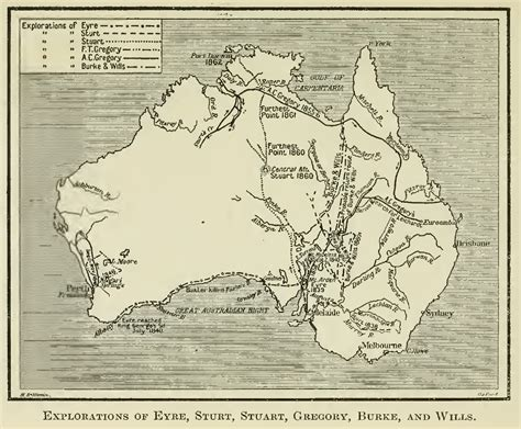 Exploration Maps and Charts -- Discovery of Australia by Land