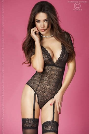 Short Sleeved Black Lace Teddy | Sexy Valentines Lingerie