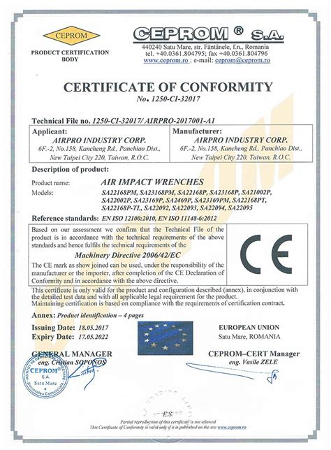 CERTIFICATE OF CONFORMITY-AIR IMPACT WRENCHES