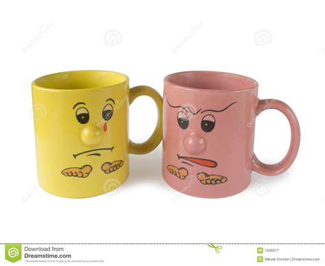 Conflict (two Cups With Faces) Royalty Free Stock